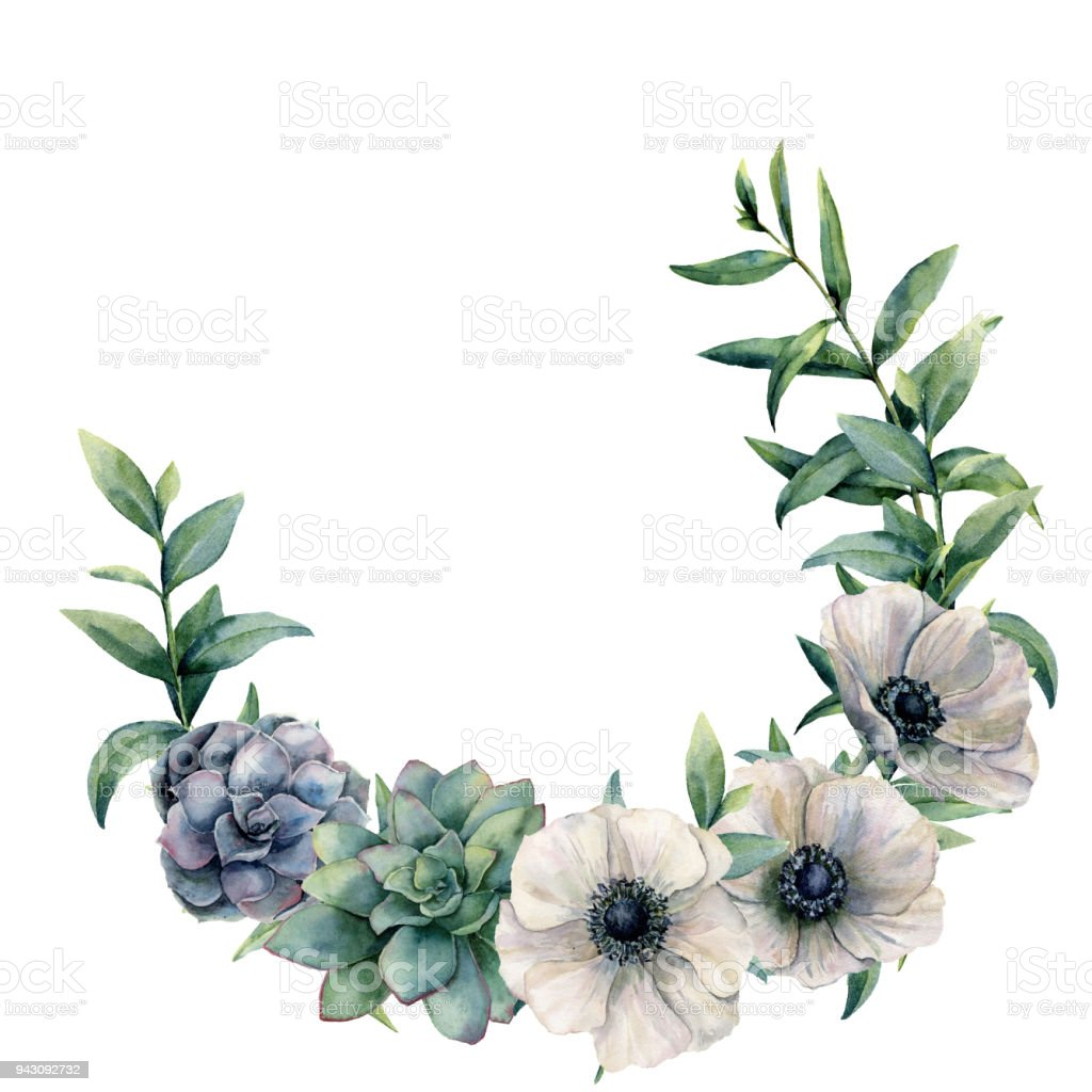 Watercolor Anemone And Succulent Wreath Hand Painted White Green