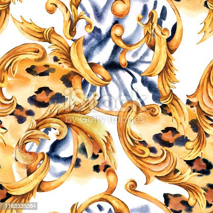 Watercolor animal print with golden baroque seamless pattern, rococo ornament texture. Hand drawn gold scrolls, leaves. Vintage design collection, Fashion glamour leopard, zebra background