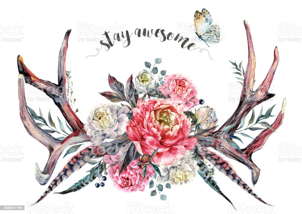 Watercolor Antlers and Flowers. Boho Decoration. vector art illustration