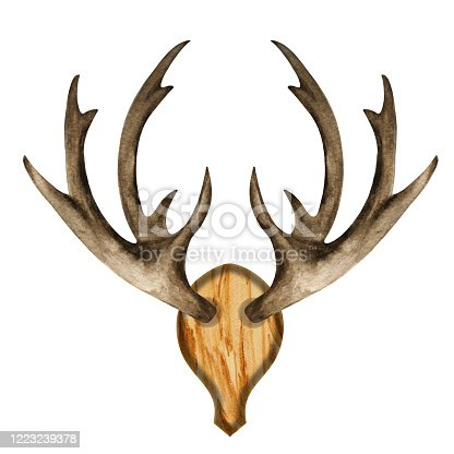 istock Watercolor antlers on wooden board 1223239378