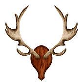 istock Watercolor antlers on wooden board 1253509203