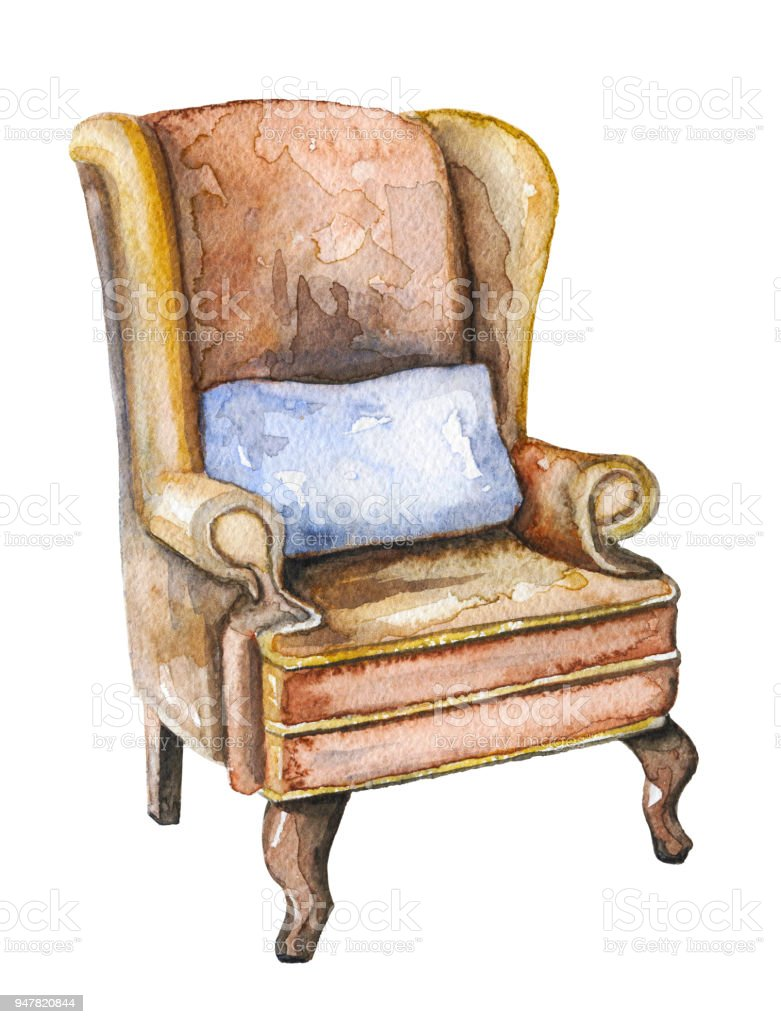 Watercolor Armchair Of Sherlock Holmes Stock Illustration Download Image Now