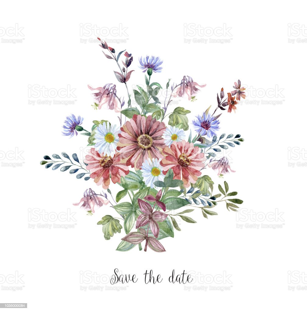 Watercolor Art With Fresh Flower Bouquet For Wedding Stock Vector