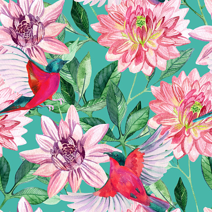 Watercolor asters and birds seamless pattern. Hand painted illustration