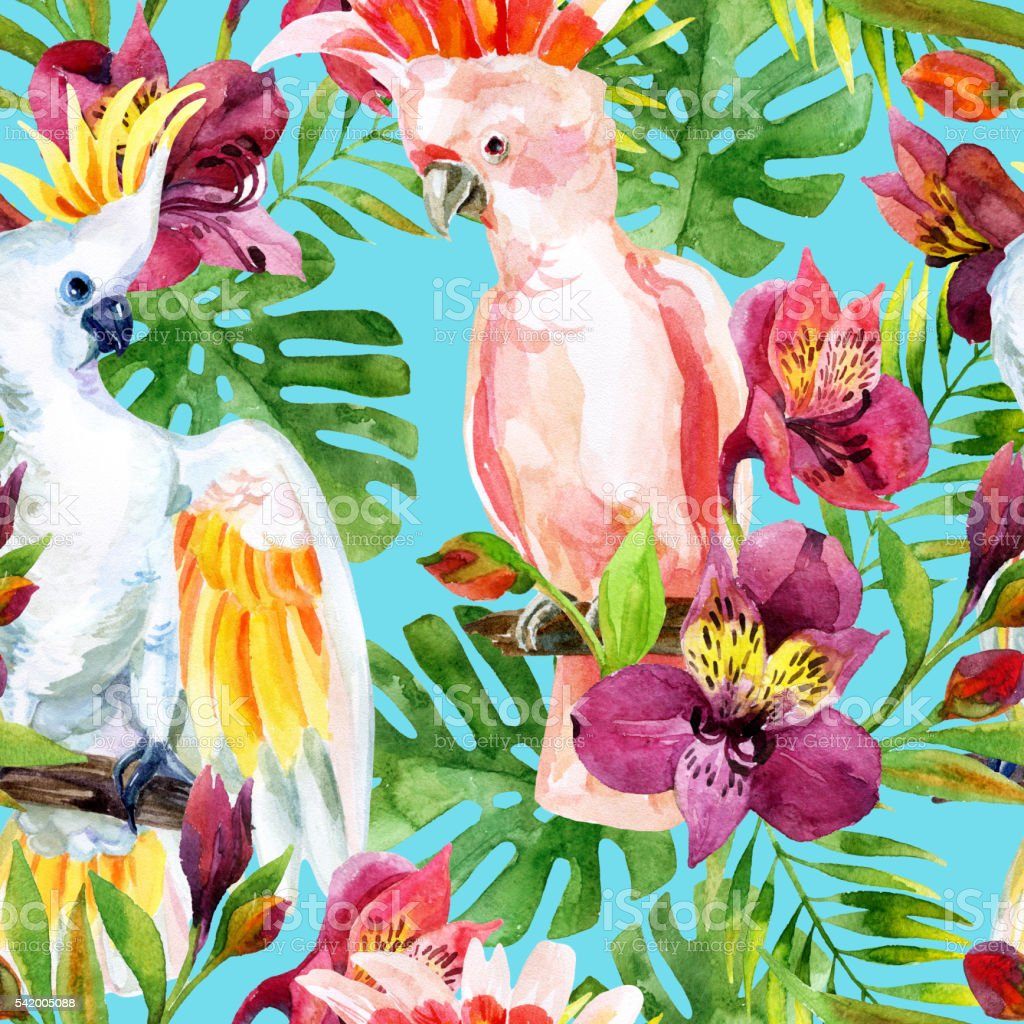 watercolor Australian Cockatoo seamless pattern vector art illustration