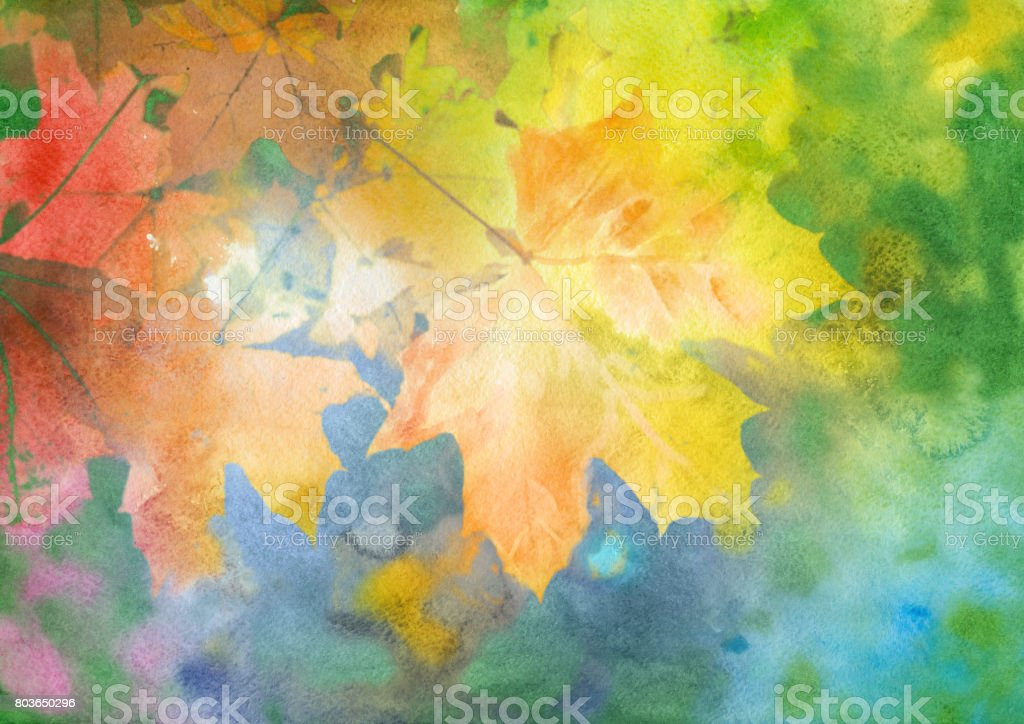 Watercolor autumn background vector art illustration