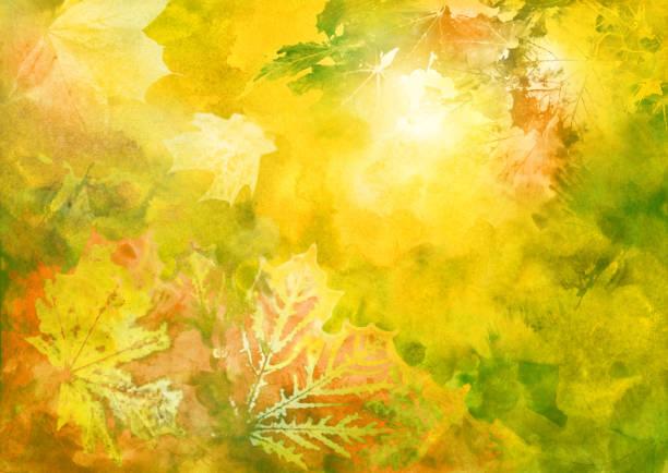 Watercolor autumn background vector art illustration