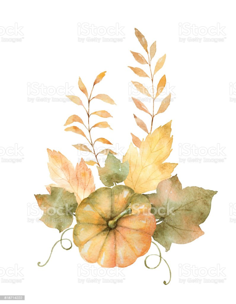watercolor autumn bouquet of leaves branches and pumpkins isolated