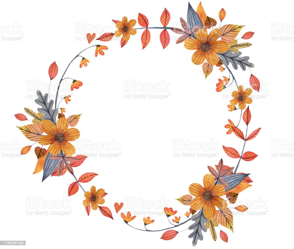 Watercolor Autumn Circle Frame Wreath With Flowers Leaves And