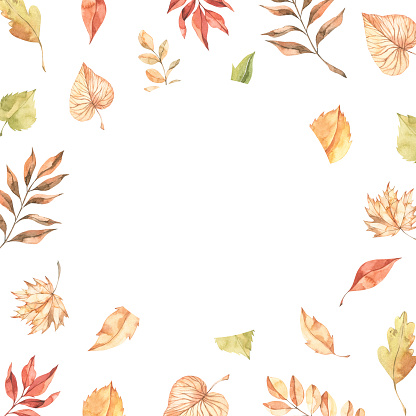 Watercolor Autumn frame with fall leaves. Illustration with maple leaf, orange leaves and branches. Perfect for invitations, greeting cards, posters, prints, social media