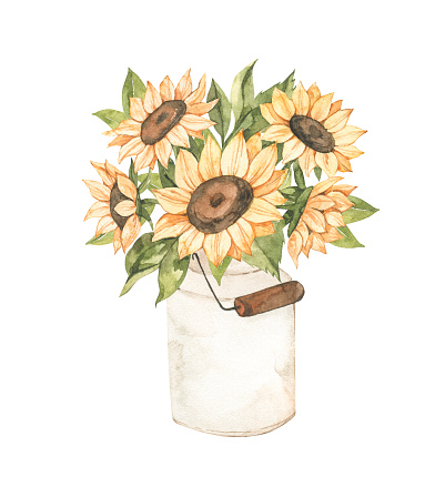 Watercolor Autumn harvest illustration with sunflowers bouquet. Fall flowers. Botanical garden. Perfect for invitations, greeting cards, posters, prints, social media