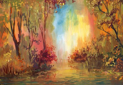 Watercolor autumn landscape, only my art work