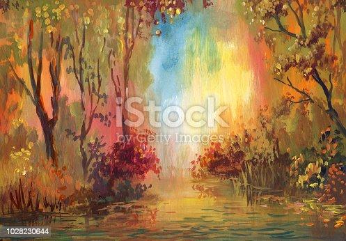 istock Watercolor autumn landscape 1028230644