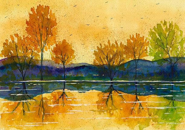 stockillustraties, clipart, cartoons en iconen met watercolor autumn  landscape painting - vogel herfst