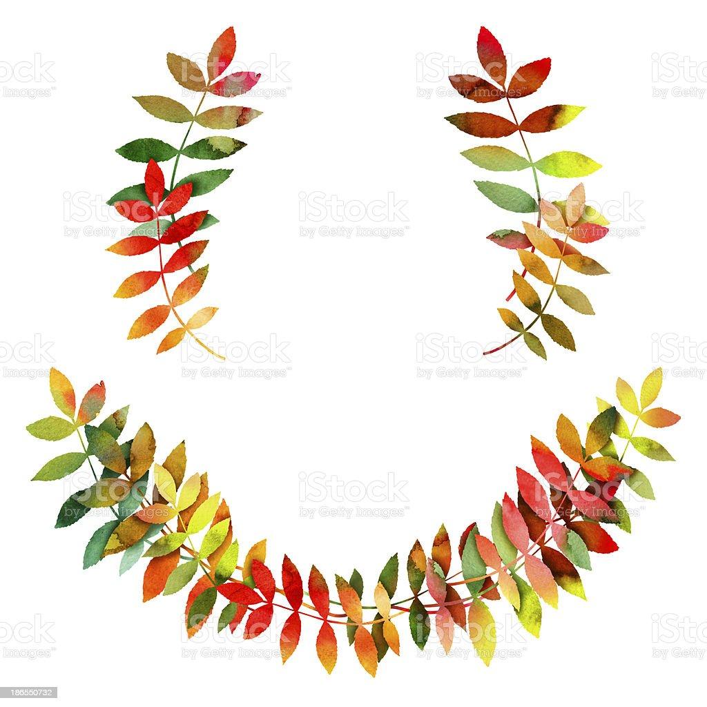 水彩秋の葉のフレーム のイラスト素材 186550732 | istock