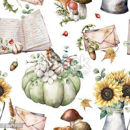istock Watercolor autumn seamless pattern with birds, books, pumpkins, mushrooms, sunflowers and envelopes. Hand painted plants isolated on white background. Illustration for design, print or background. 1291610107
