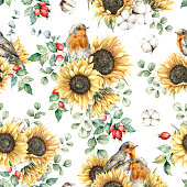 istock Watercolor autumn seamless pattern with robin redbreast, sunflowers, leaves and dogroses. Hand painted floral illustration isolated on white background. For design, print, fabric or background. 1291395575