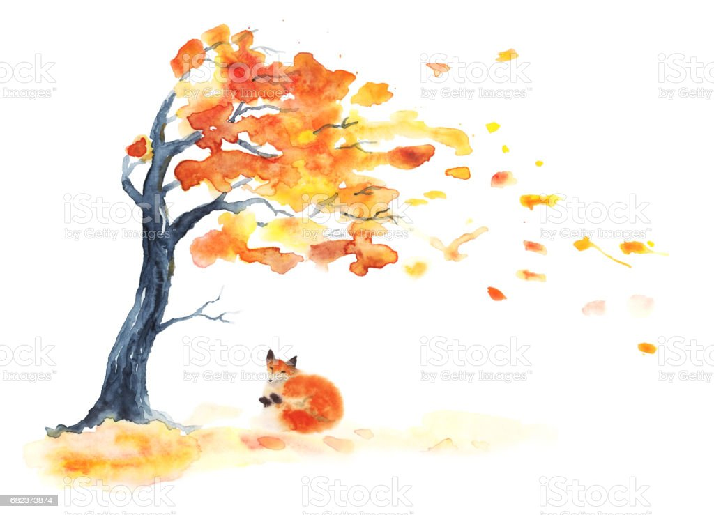 Watercolor autumn tree with yellow and orange leaves and red fluffy cute fox on white. royaltyfri watercolor autumn tree with yellow and orange leaves and red fluffy cute fox on white-vektorgrafik och fler bilder på akvarellmålning