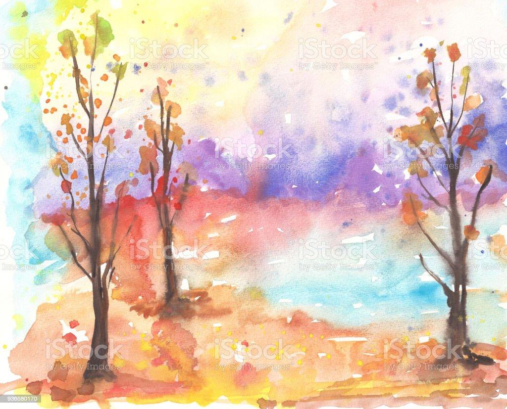 Suluboya Sonbahar Ağaçları Ve Renkli Orman Manzara Stok Vektör