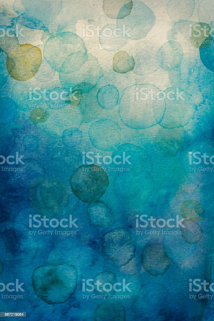 Watercolor background- Abstract bubbles vector art illustration