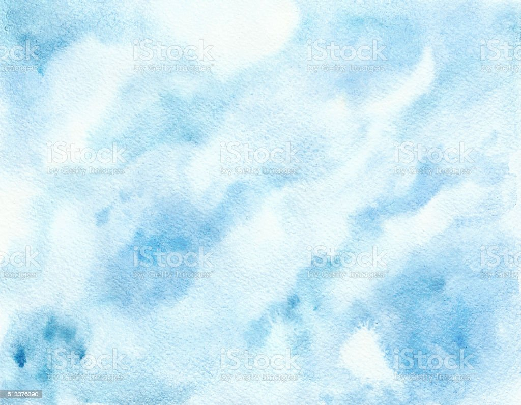Watercolor background. Abstract texture. Blue sky vector art illustration