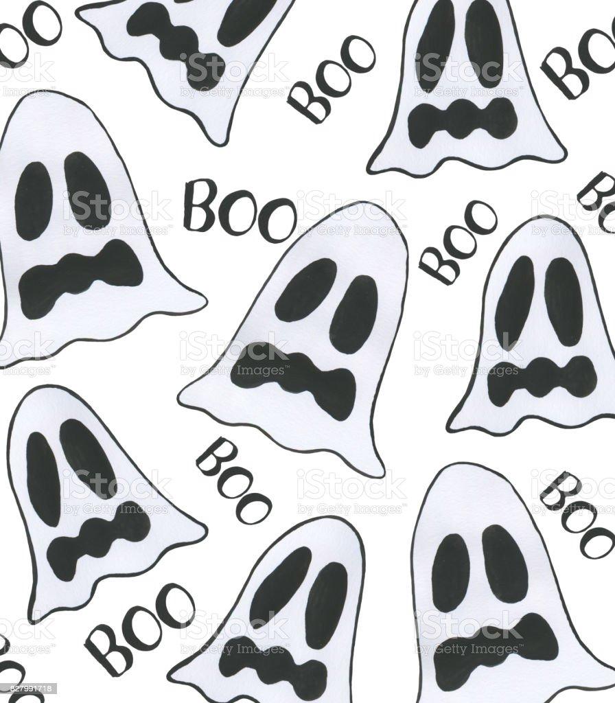 Ilustración de Fondo Acuarela De Cute Dibujos Animados De Fantasmas ...