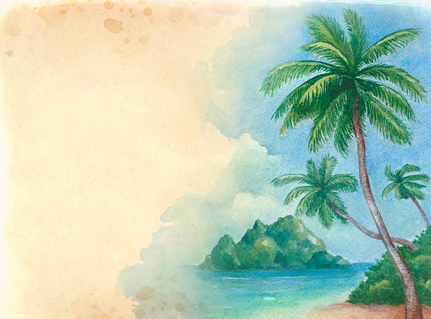Watercolor background with illustration of the tropical beach Watercolor background with illustration of the tropical beach big island hawaii islands stock illustrations