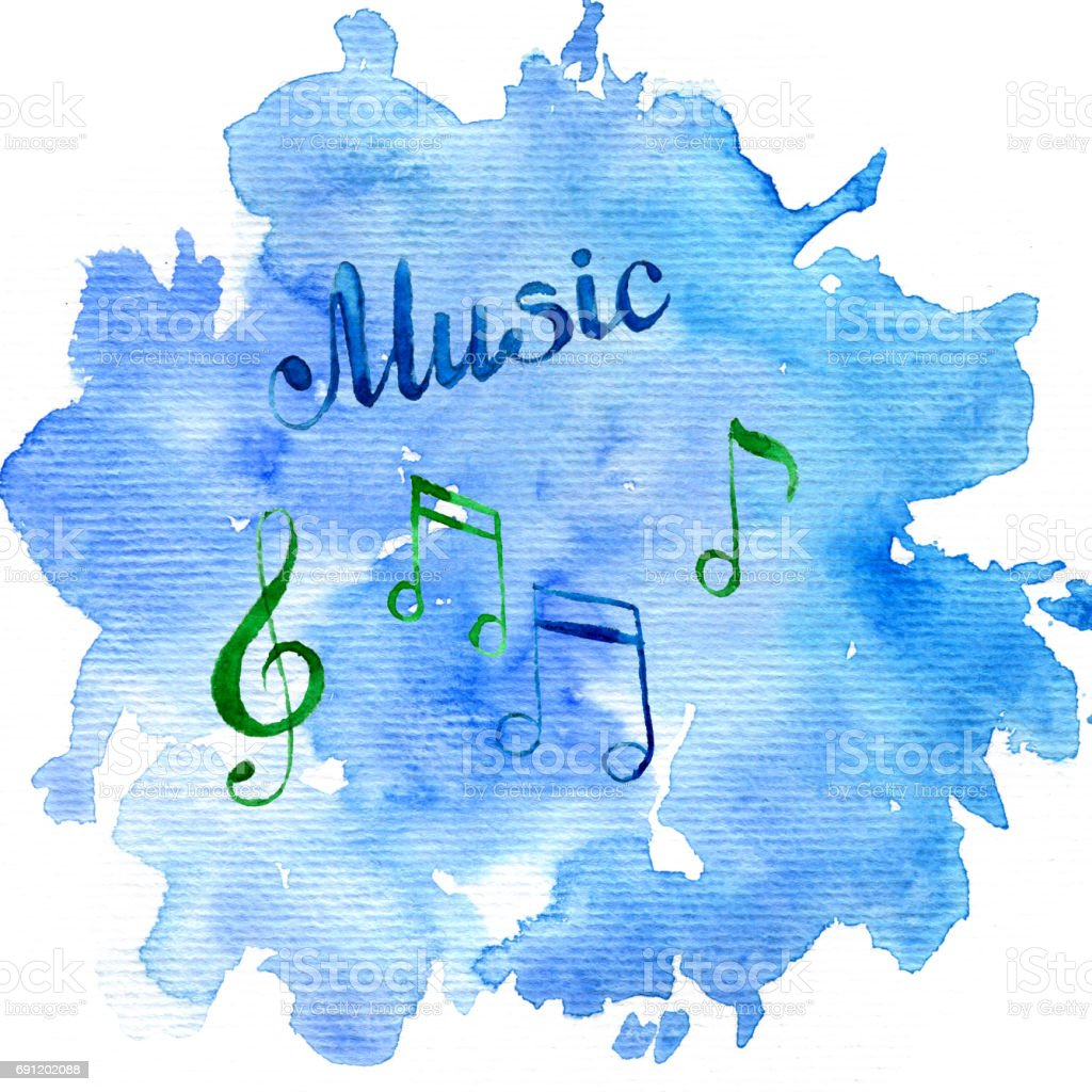 watercolor background with musical notes vector art illustration