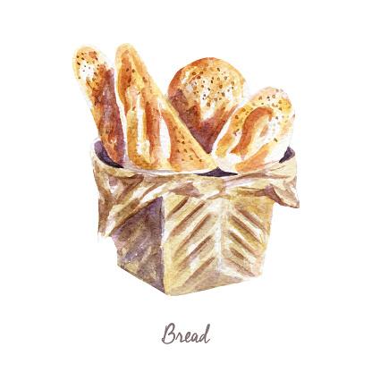 Watercolor bakery Clipart - bread