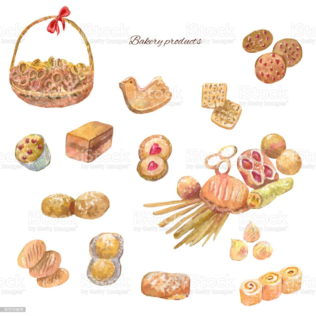 Watercolor bakery products. Set of sweet cakes, cookie vector art illustration