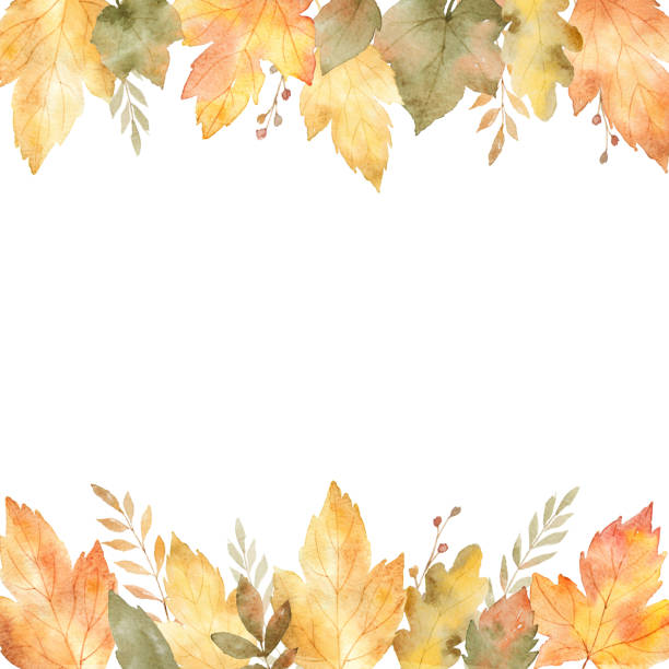 Watercolor banner of leaves and branches isolated on white background. vector art illustration
