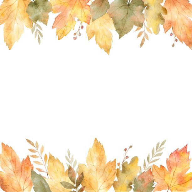 葉や枝は、白い背景で隔離の水彩のバナーです。 - 秋点のイラスト素材/クリップアート素材/マンガ素材/アイコン素材