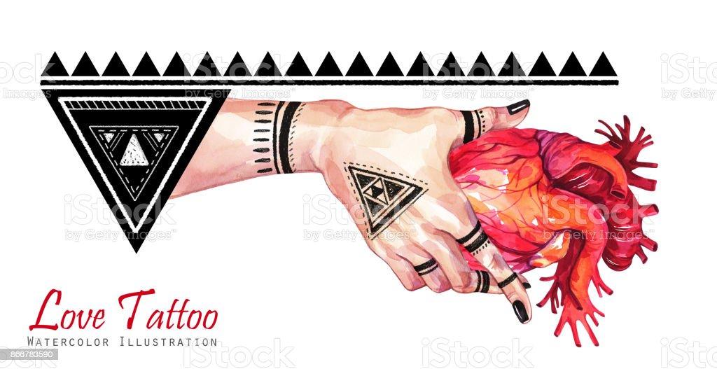 Main De Femme Aquarelle Banniere Avec Tatouage Mehendi Tenant Coeur