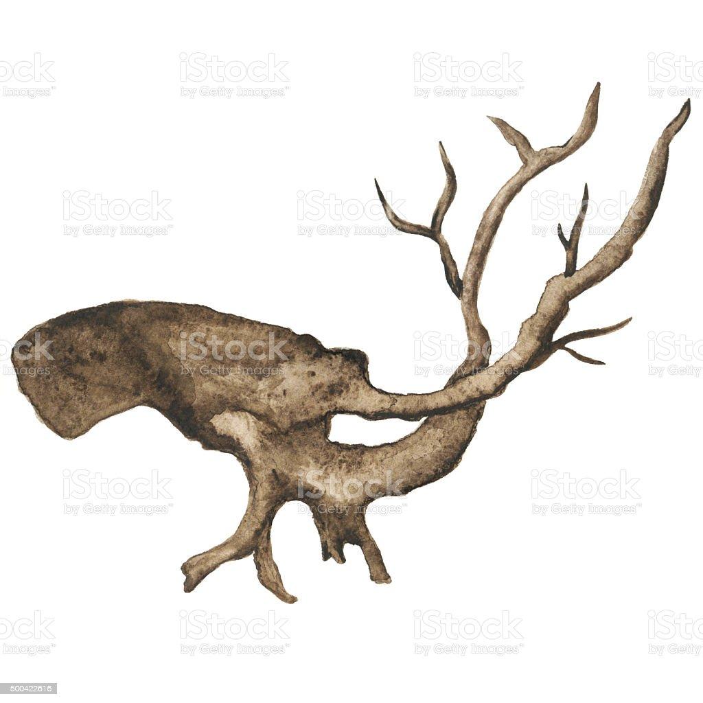Watercolor bare tree, snag vector art illustration