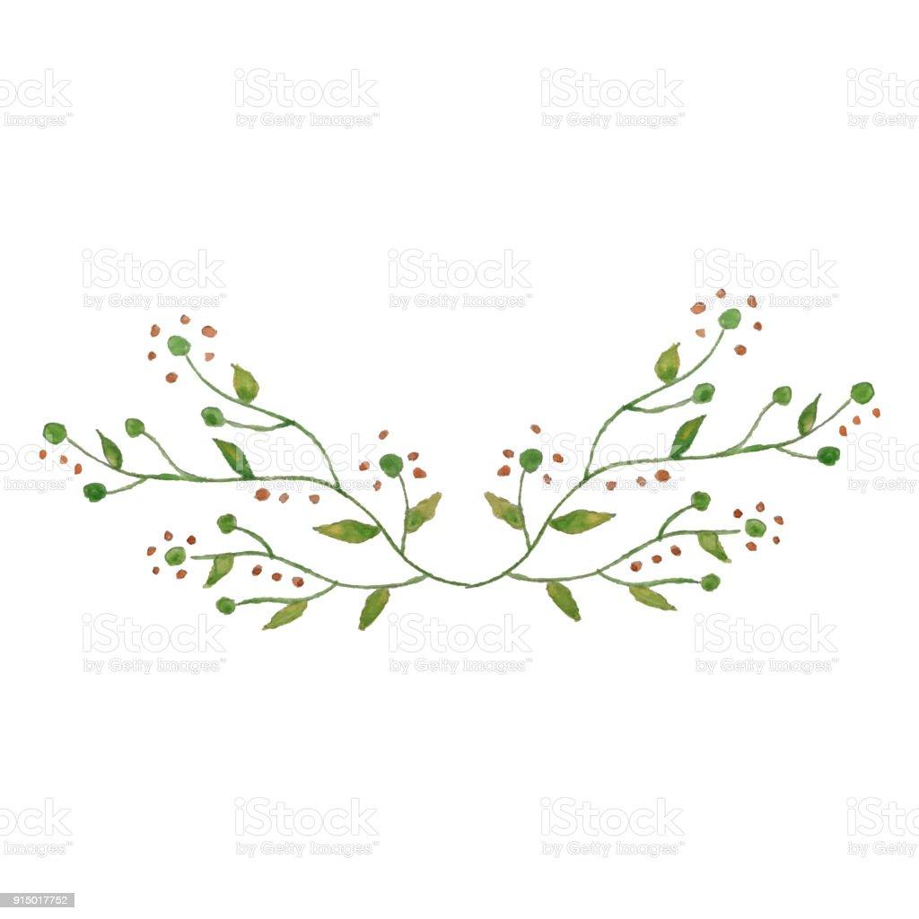 Sulu Boya Güzel çelengi Izole Yapraklar Ve çiçekler Zarif çiçek