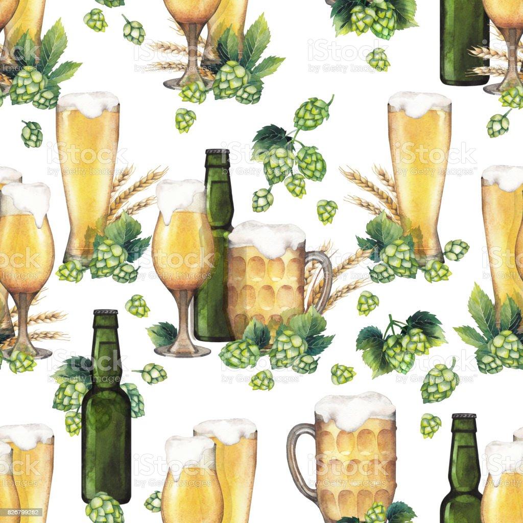 Watercolor beer pattern vector art illustration