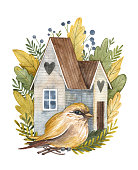istock Watercolor bird house with plants and cute bird 1305063513