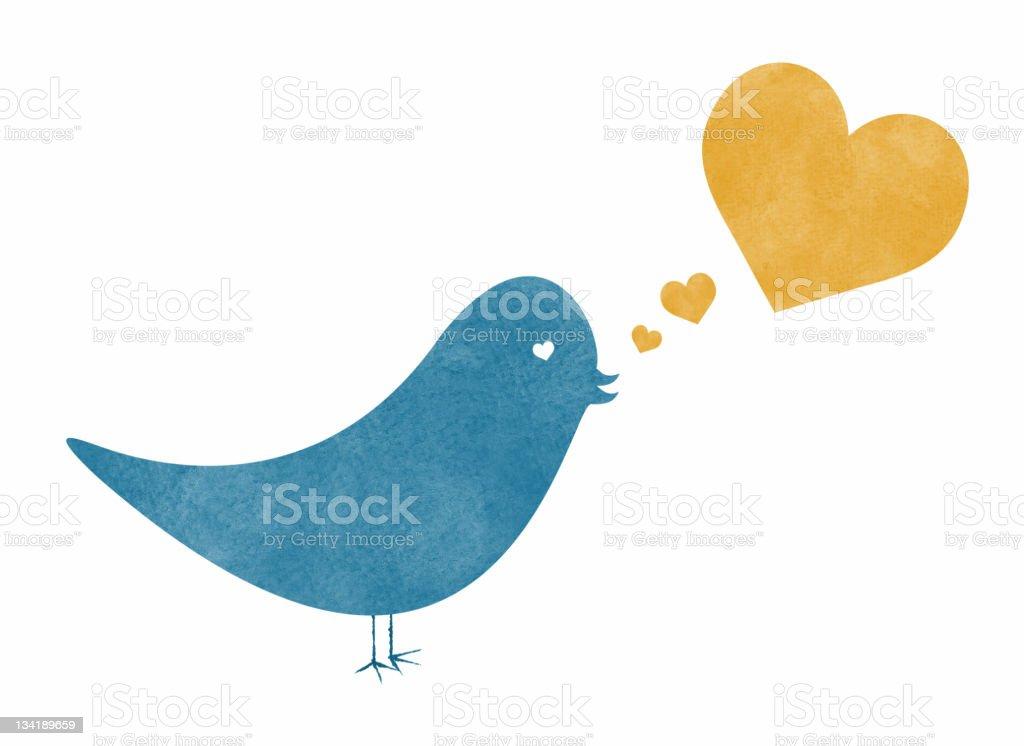 Watercolor Bird with Speech Bubble Heart royalty-free stock vector art