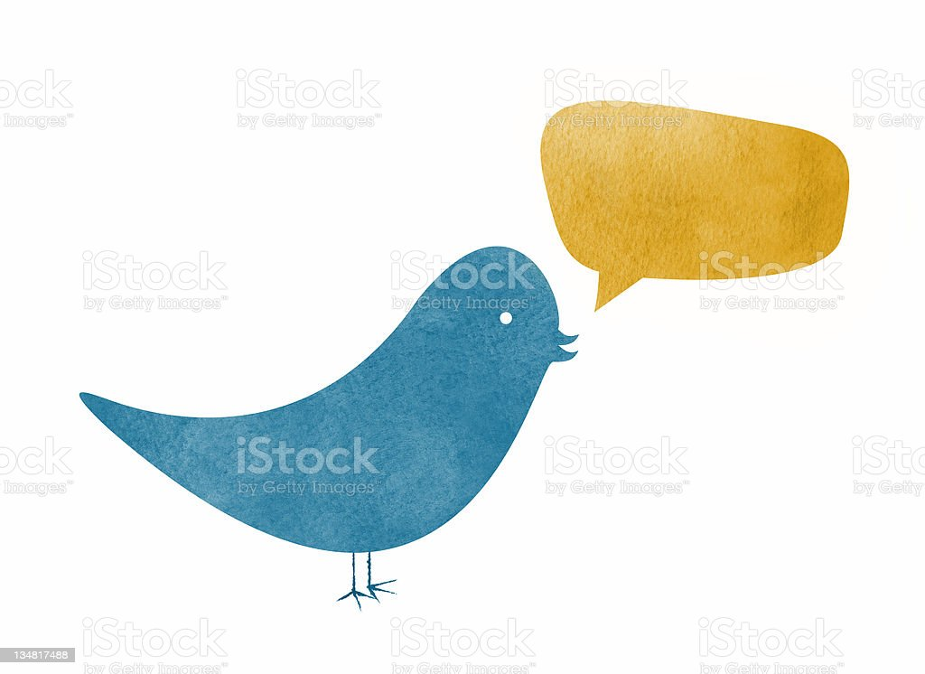 Watercolor Bird with Speech Bubble royalty-free watercolor bird with speech bubble stock vector art & more images of blank