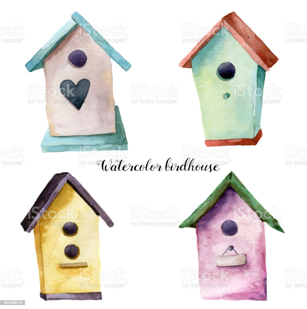 Watercolor birdhouse set. Hand painted nesting box isolated on white background. For design, print, fabric vector art illustration