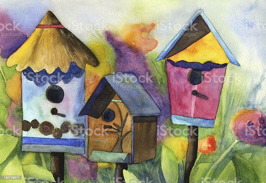 Watercolor birdhouses in flower garden vector art illustration
