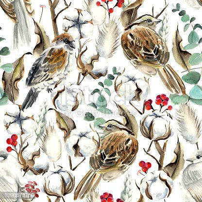 istock Watercolor Birds and Cotton Seamless Pattern 1290578756