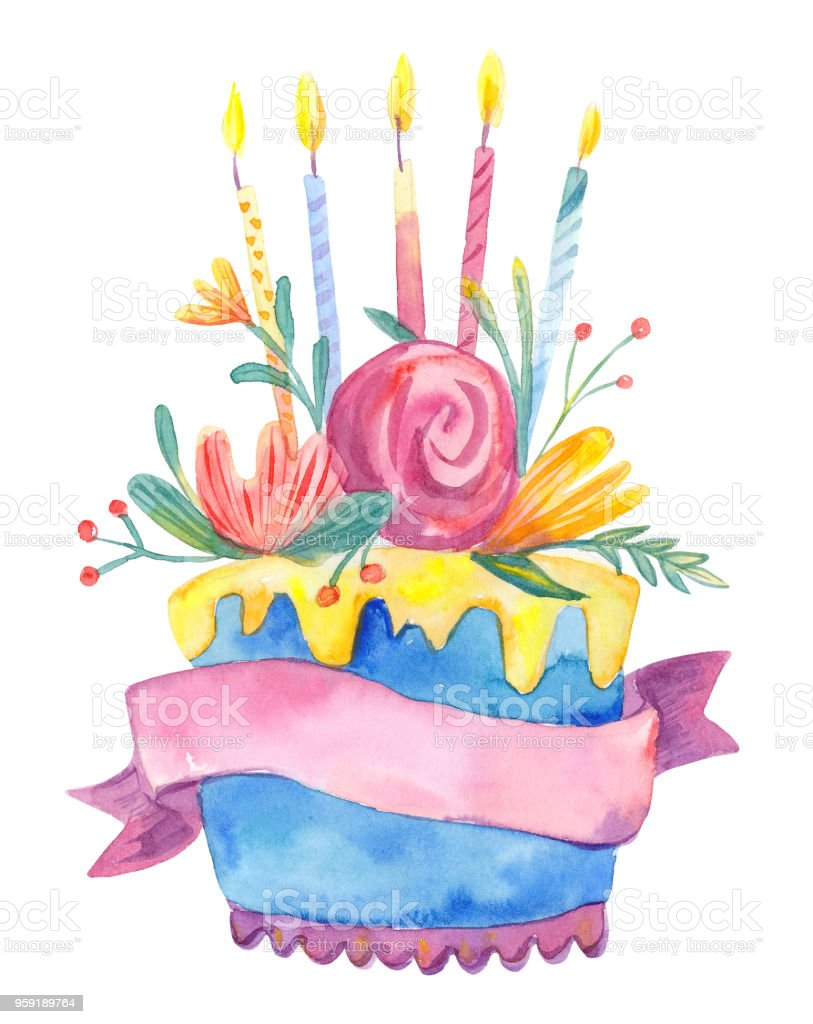 Watercolor Birthday Cake With Flowers And Candles Isolated On White Background