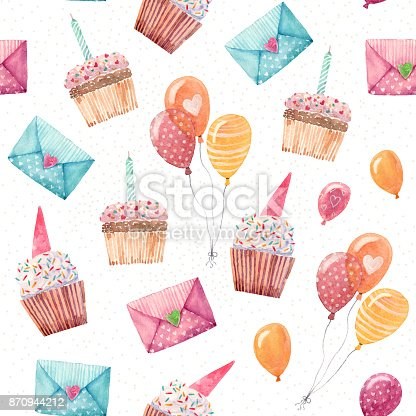 istock Watercolor birthday party pattern 870944212