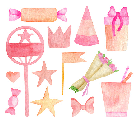 Watercolor Birthday party set. Hand drawn peach colored party hat, paper cup, cake topper, kid crown, flower bouquet, flag, heart and bow