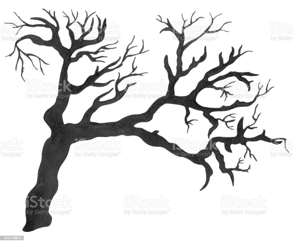 Watercolor black bare tree vector art illustration