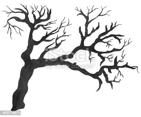 Ilustración de Árbol Desnudo Acuarela Negra y más banco de imágenes ...