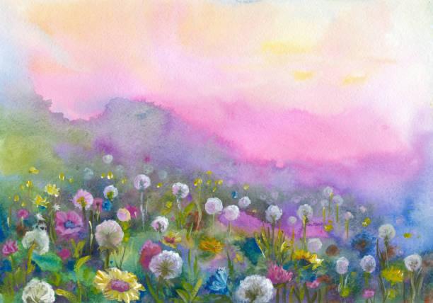 Vallée de fleurie aquarelle - Illustration vectorielle