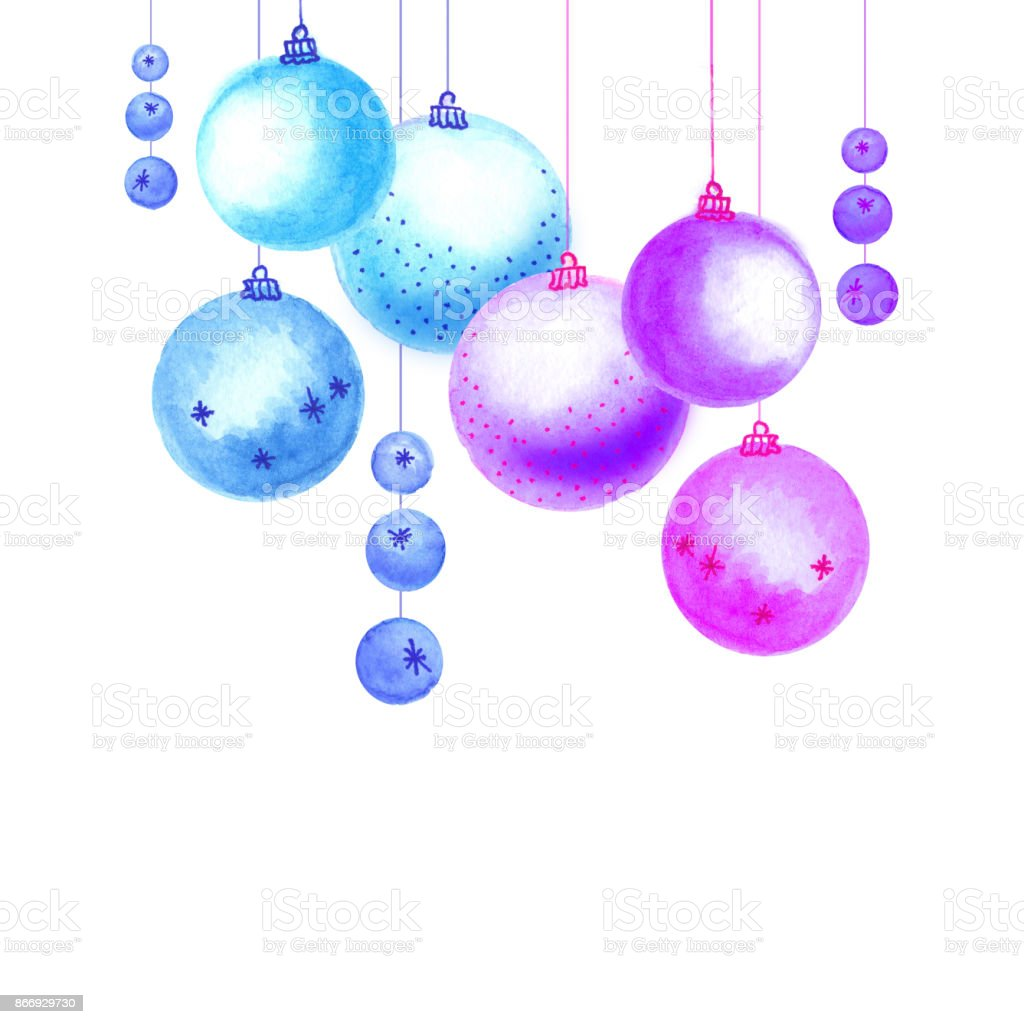 Watercolor Blue And Purple Christmas Balls Royalty Free Stock