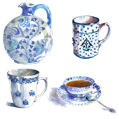 Watercolor blue ceramic set.